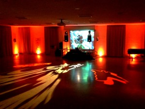 Halloween themed uplighting and gobo projections